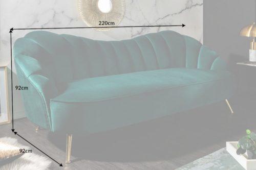 Retro 3-osobowa sofa ARIELLE 220cm zieleń