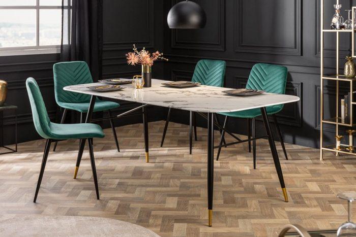 Stół PARIS 180cm marmurowy szklany