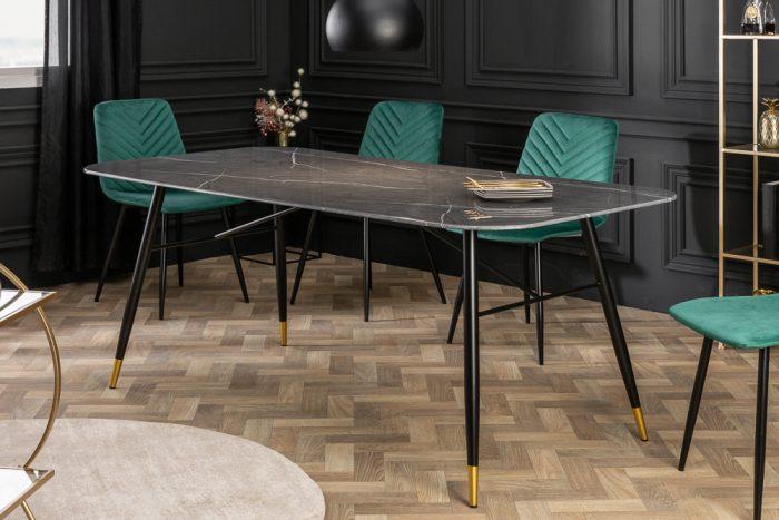 Stół PARIS 180cm czarny marmur szklany