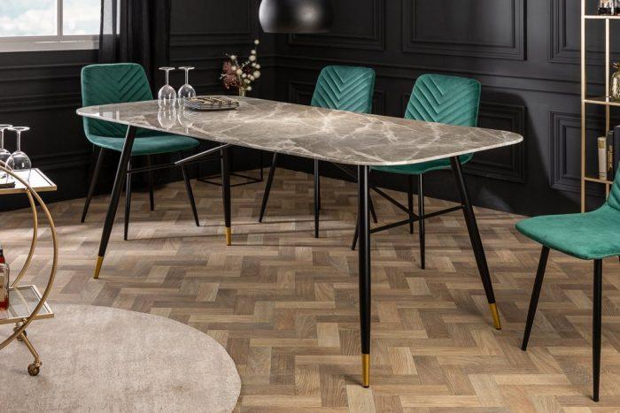 Stół PARIS 180cm szklany szary marmur