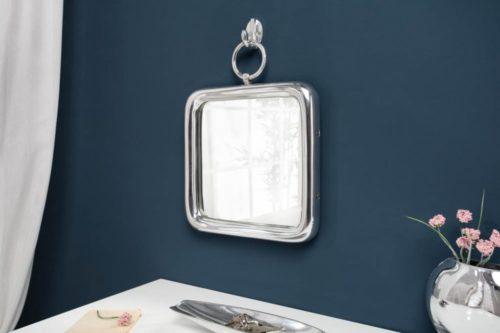 Eleganckie wiszące lustro ścienne PORTRAIT 35cm srebrne