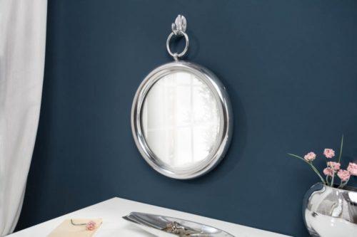 Eleganckie okrągłe lustro ścienne PORTRAIT 37 cm srebrne