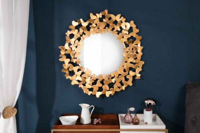 Filigranowe lustro ścienne BUTTERFLY 78cm złote