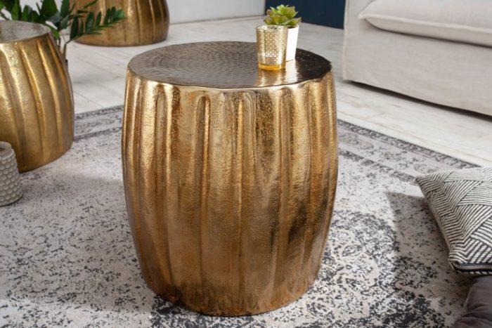 Ręcznie wykonany stolik boczny MARRAKESCH 42cm złoty