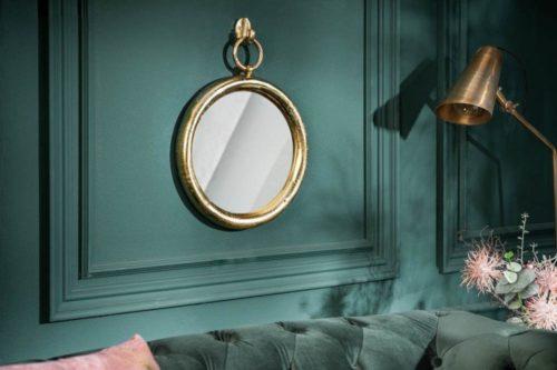 Eleganckie okrągłe lustro ścienne PORTRAIT 37 cm złote