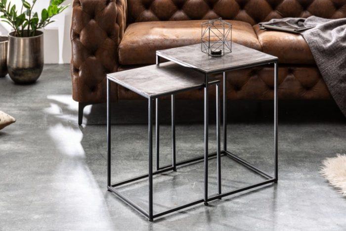 Stolik kawowy ELEMENTS 40cm srebrno-czarny