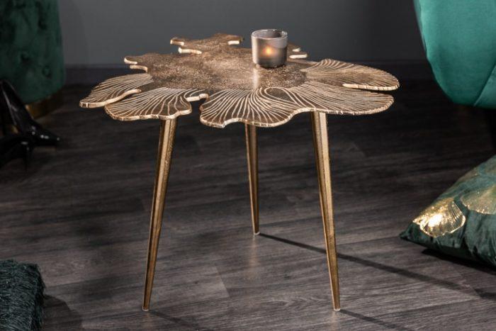Stolik kawowy w kształcie liścia LEAF 57cm złoty