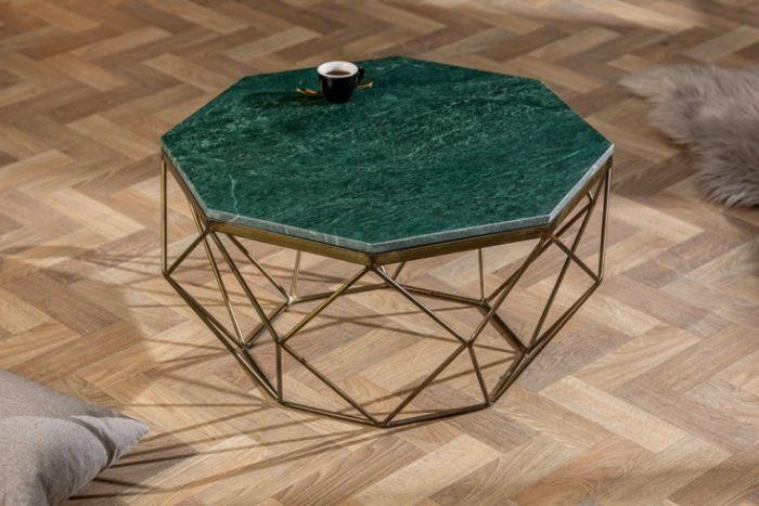 Elegancki stolik kawowy DIAMOND 69cm w kolorze zielonego marmuru