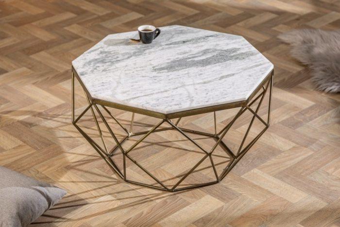 Elegancki stolik kawowy DIAMOND 69cm z marmuru w kolorze biało-szarym