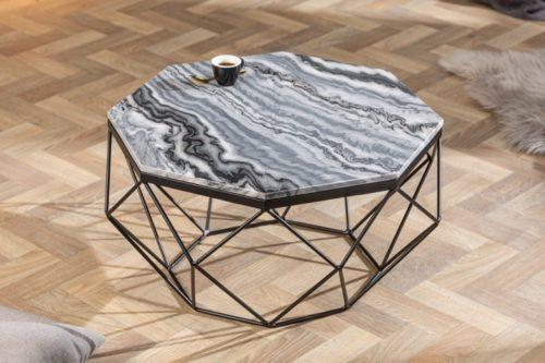 Elegancki stolik kawowy DIAMOND 69cm marmurowy blat