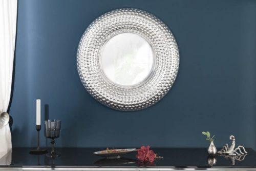 Ręcznie robione lustro ścienne ORIENT 60 cm srebrne