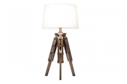 Industrialna lampa stołowa TRIPOD 59cm biała drewno sosnowe