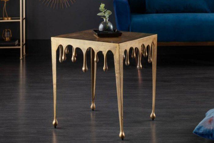 Ekstrawagancki stolik kawowy LIQUID LINE L 46cm złoty