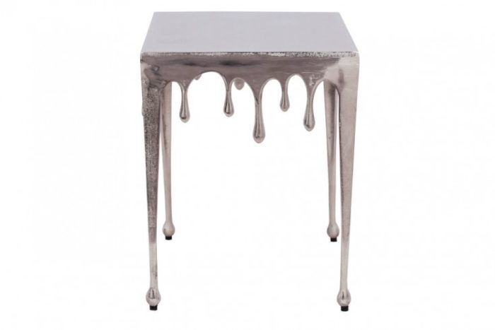 Ekstrawagancki stolik pomocniczy LIQUID LINE S 34 cm srebrny