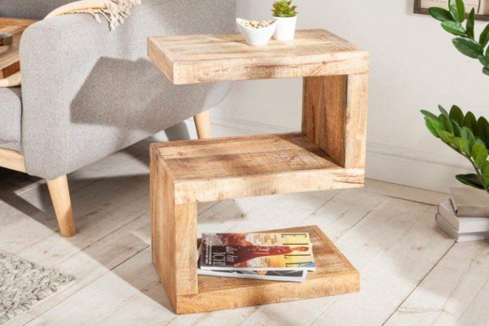 Ręcznie wykonany stolik boczny S 60 cm z litego drewna mango
