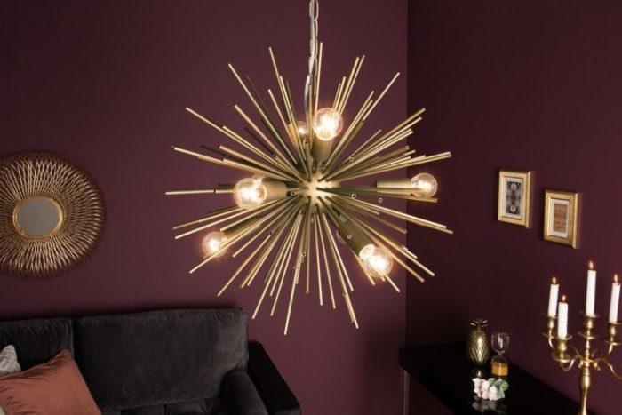 Elegancka lampa wisząca SUNLIGHT 50cm złota matowa