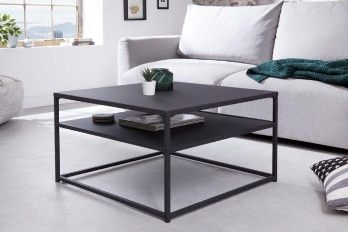Industrialny stolik kawowy DURA STEEL 70cm czarny
