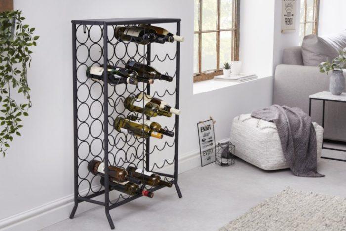 Przemysłowy stojak na wino czarny 102 cm na 54 butelki
