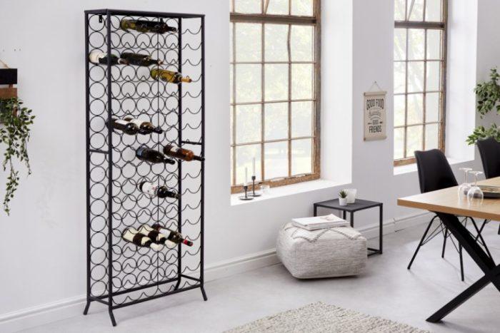 Przemysłowy stojak na wino czarny 182cm na 102 butelki