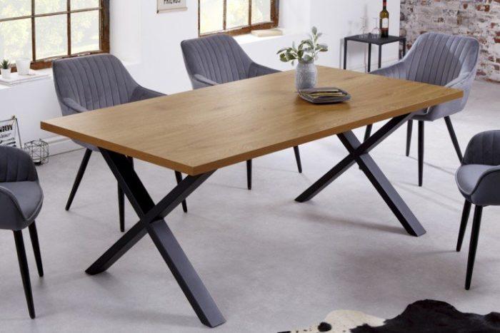 stół LOFT 160 cm dąb z czarną ramą