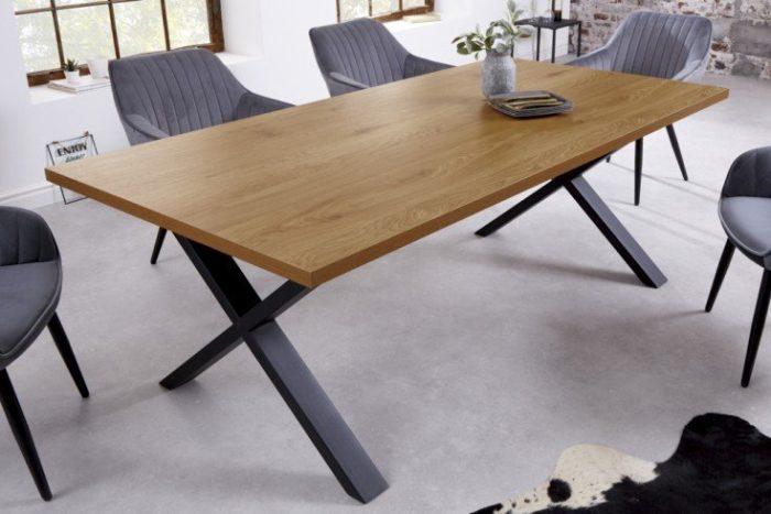 stół LOFT 180 cm dąb z czarną ramą