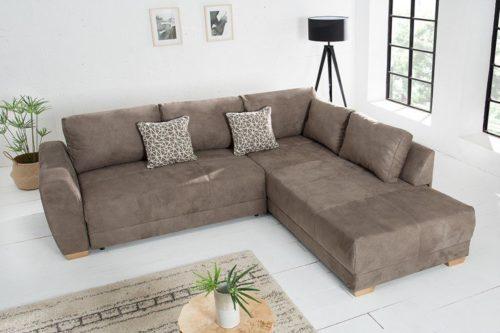 Nowoczesna rozkładana sofa NORWEGIA brązowa 255cm poduszki w zestawie