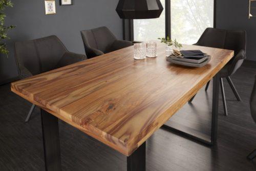 Industrialny stół do jadalni IRON CRAFT 120 cm drewno Sheesham