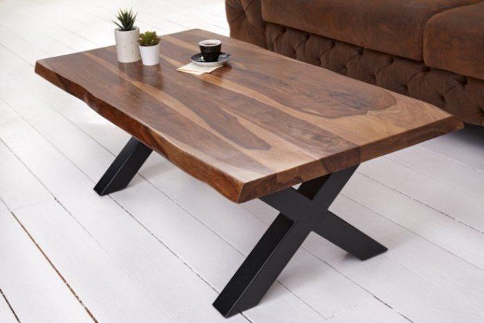 Stolik kawowy z litego drewna AMAZONAS 110 cm brązowy