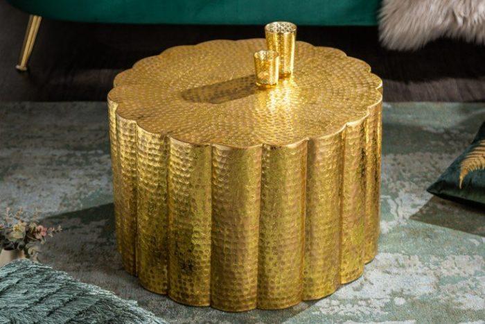 Stolik kawowy LIQUID LINE 60cm złocisty ręcznie wykonany