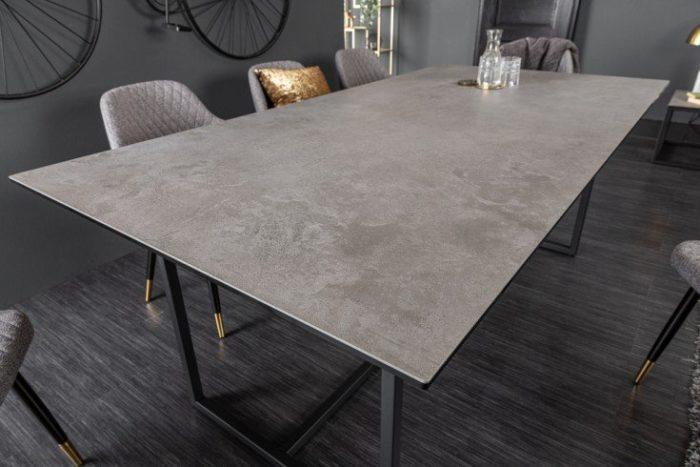 Nowoczesny stół do jadalni SYMBIOSE 200 cm szary blat imitujący beton
