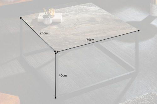 Nowoczesny stolik kawowy SYMBIOSE 75cm ciemnoszara ceramika o wyglądzie marmuru