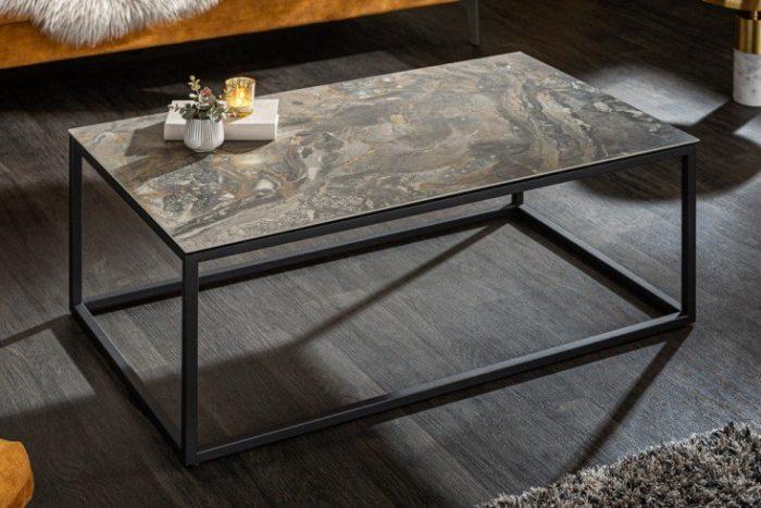 Nowoczesny stolik kawowy SYMBIOSE 100 cm imitacja szarego marmuru