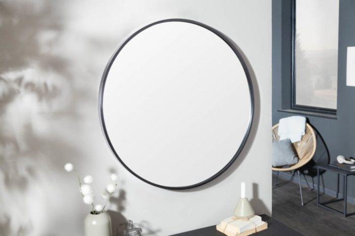 Nowoczesne lustro ścienne NOEMI 80cm czarne okrągłe