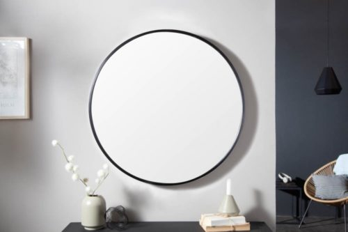Nowoczesne lustro ścienne NOEMI 60cm okrągłe czarne