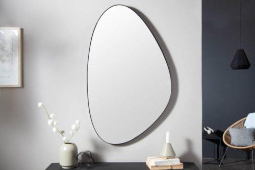 Nowoczesne lustro ścienne NOEMI 90cm czarne asymetryczne
