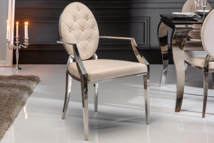 Eleganckie krzesło MODERN BAROQUE aksamit beżowy