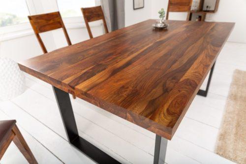 Industrialny stół do jadalni IRON CRAFT 140 cm drewno Sheesham