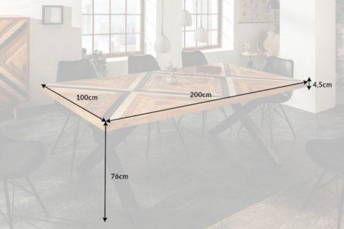 Industrialny stół do jadalni LONG ISLAND 200cm drewno mango