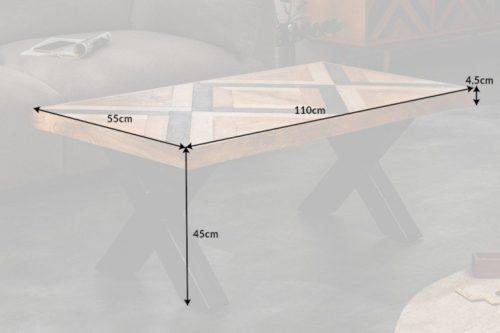 Industrialny stolik kawowy LONG ISLAND 110cm drewno mango