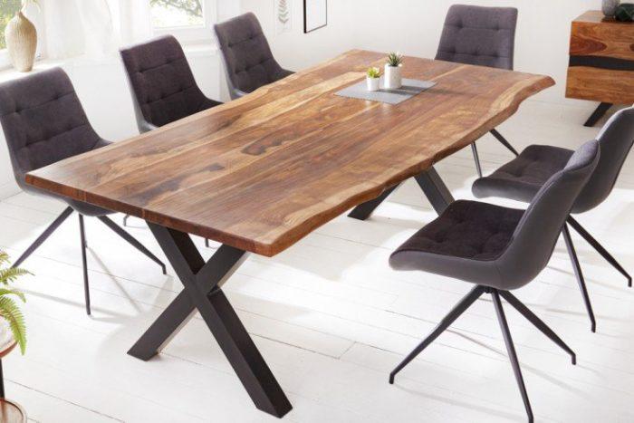 Stół do jadalni z litego drewna AMAZONAS 200 cm brązowy