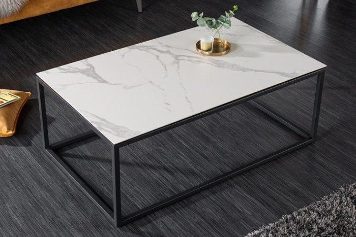 Nowoczesny stolik kawowy SYMBIOSE 100 cm imitacja białego marmuru