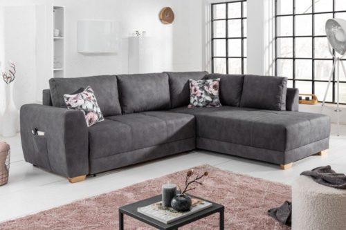 Nowoczesna rozkładana sofa NORWEGIA Szara 255cm poduszki w zestawie