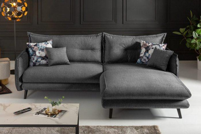 Elegancki narożnik SHIVA 250cm aksamit odcień szarości poduszki w zestawie