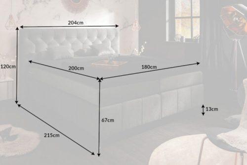 Łoże EUPHORIA 180x200cm materac sprężynowy jasnoszare