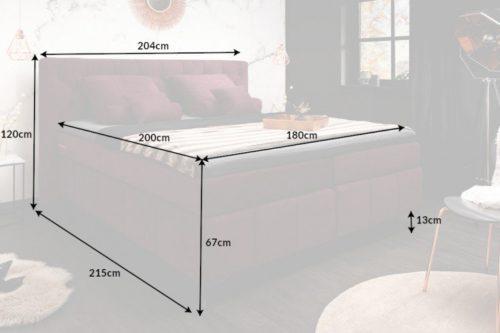 Łoże EUPHORIA 180x200cm materac sprężynowy aksamit kolor bordowy