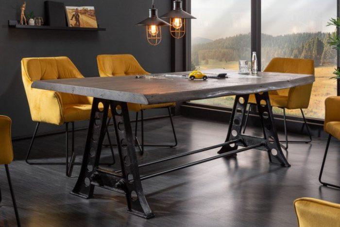 Solidny stół jadalniany MAMMUT INDUSTRIAL 220cm szary drewno akacjowe
