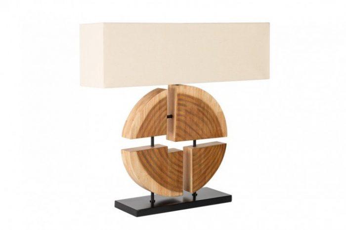 Designerska lampa stołowa ORGANIC ARTWORK 80cm lniany klosz