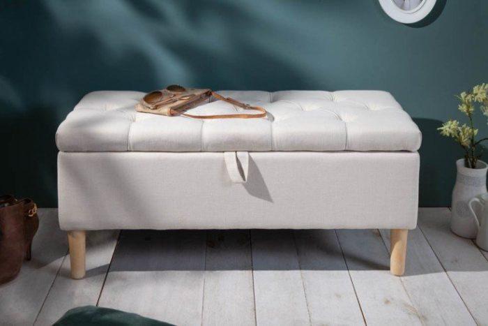 Ławka z pikowaniem Chesterfield CASTLE 100 schowek do przechowywania beżowa