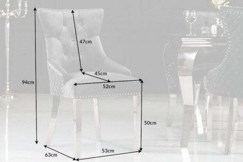 Eleganckie krzesło CASTLE styl Chesterfield szare aksamit