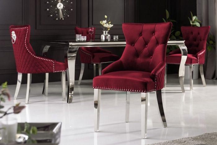 Eleganckie krzesło CASTLE styl Chesterfield czerwone aksamit